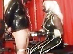 Fat fucker in rubber jacked off by mistress BDSM porn