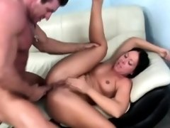 Hot babe with perky tits rubs her clit while getting nailed in the ass