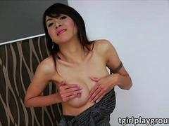 Ladyboy Sugar in kinky solo masturbation