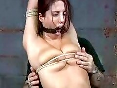 Roped chick receives cruel punishment from a freak BDSM movie