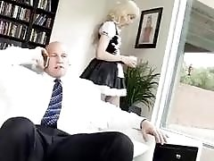 Imposing blonde tranny gets fucked by her sexy bold landlord