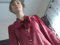 Mommy in pantyhose blows and rides young guy in POV
