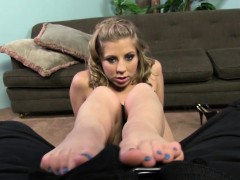 Blonde gives bbc footjob