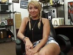 Cute blonde fucked for her vets bills
