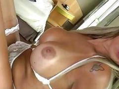 Hypnotic tranny wearing sexy lingerie pulls her dick out to masturbate