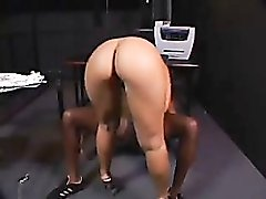 Black guy sits and slut sits on his cock