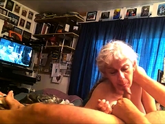 Lustful granny gives a blowjob and receives a good fucking