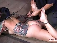 Busty tattooed slave girl likes being gagged and bound BDSM