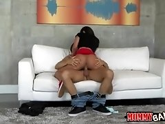 Stepmom busted teen bitch on top of hard dick on the couch