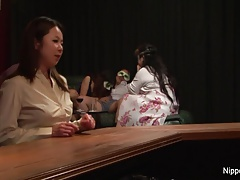 Asian MILF at the sex club gets fingered until she screams