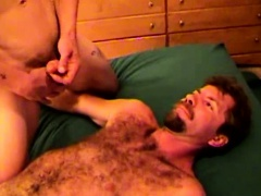 Mature dilf watching two studs wank off