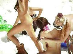 Hot badass girls snowboarding while nude
