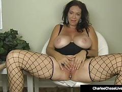 Big Boobed Milf Charlee Chase Stuffs Her Muff With A Dildo!