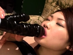 Two hot Oriental babes embark on a wild lesbian experience