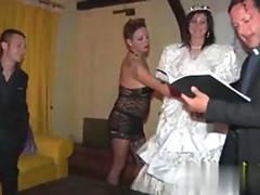Bride in stockings gets pussy licked in a bisexual threesome