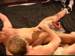 CBT Young stud with huge cock gets balls hammered and then