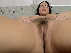 big ass girl teases with her hairy snatch