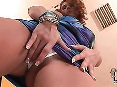 Curly hair girl in a slutty blue dress solo