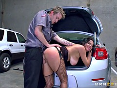 nasty milf veronica avluv getting her ass hole pummeled by security guard
