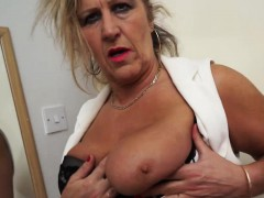 Blonde old maid masturbating in stockings