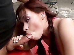 Masked guys gangbang a beautiful redheaded slut