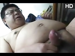Asian daddy play and cum
