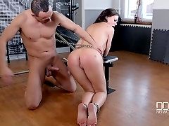 Gym Humiliation - Brunette Submissive Receives Spanking