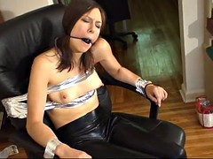 Drooling bound and gagged hottie leather leggings