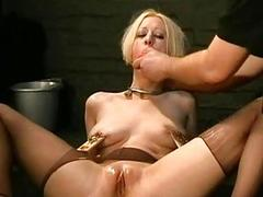 Busty blonde slave loves getting her nipples and asshole punished