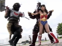 Cute Asian girl in a sexy costume gets used by masked guys