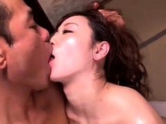 Slutty Oriental wife has two guys roughly drilling her peach