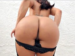 perfect latina tranny sucking and fucking big black cock
