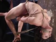 Tied up slave babe punished in freaky ways BDSM porn
