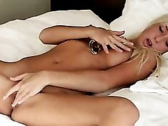 blonde with huge glass toy