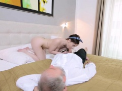 Horny old fart stuffs mouth of a young babe with his schlong