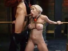 Restrained sub slut with big boobs hard fucked BDSM porn