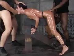 Tied up slut spit roasted by maledom masters BDSM porn