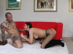 Kinky british MILF in stockings doggystyled
