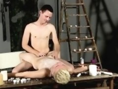 Hairless young gay porn Splashed With Wax And Cum