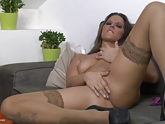 Amateur MILF fucks her wet thirsty pussy