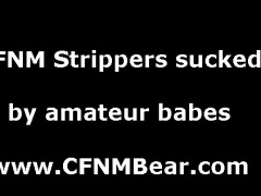 Blowjob for strippers from group of CFNM amatuers at party