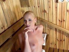 POINT OF VIEW Sauna Blow-Job Makes Kathia Nobili Gargle Geysers Of Man Chowder