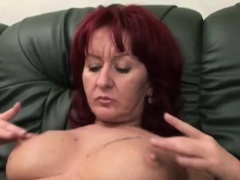 Redhead perky tits wife fingering her hairy pussy foreplay