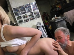 Ravishing young gal gets her pussy ready for old hard cock