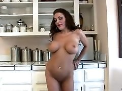 Victoria Valentino fucks the sybian and suction cup dildo followed by a hardcore fucking on table