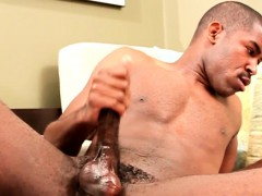 Hung black stud Scottie jerking his cock
