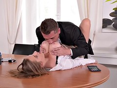Blonde makes her stud cum with her twat and knockers