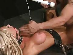 Busty blonde bimbo toyed and fucked while bound BDSM porn