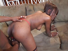 Ebony in fishnets loves a big hard cock