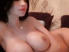 Beautiful Romanian prostitute plays with her amazing knockers on webcam